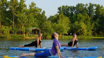 SUP Yoga at Creve Coeur Lake with Debby Siegel Tuesday evenings in summer