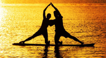 Sup Yoga with Debby Siegel at Creve Coeur Lake on Tuesdays at sunset.