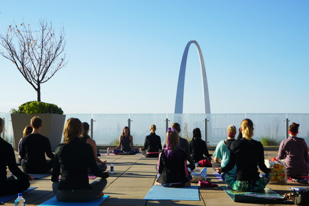 Four Seasons Yoga with Debby Siegel on 8th floor sky terrace Global Wellness Day
