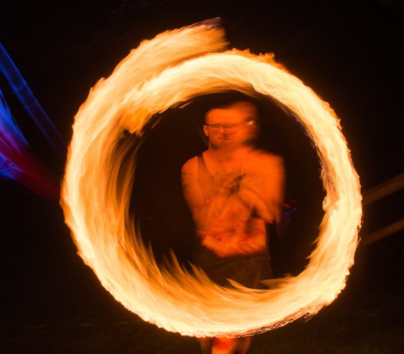 ReKinection fire spinner Daniel Donovan at Manifest Station Vol 3. photo by William Cooley Media.