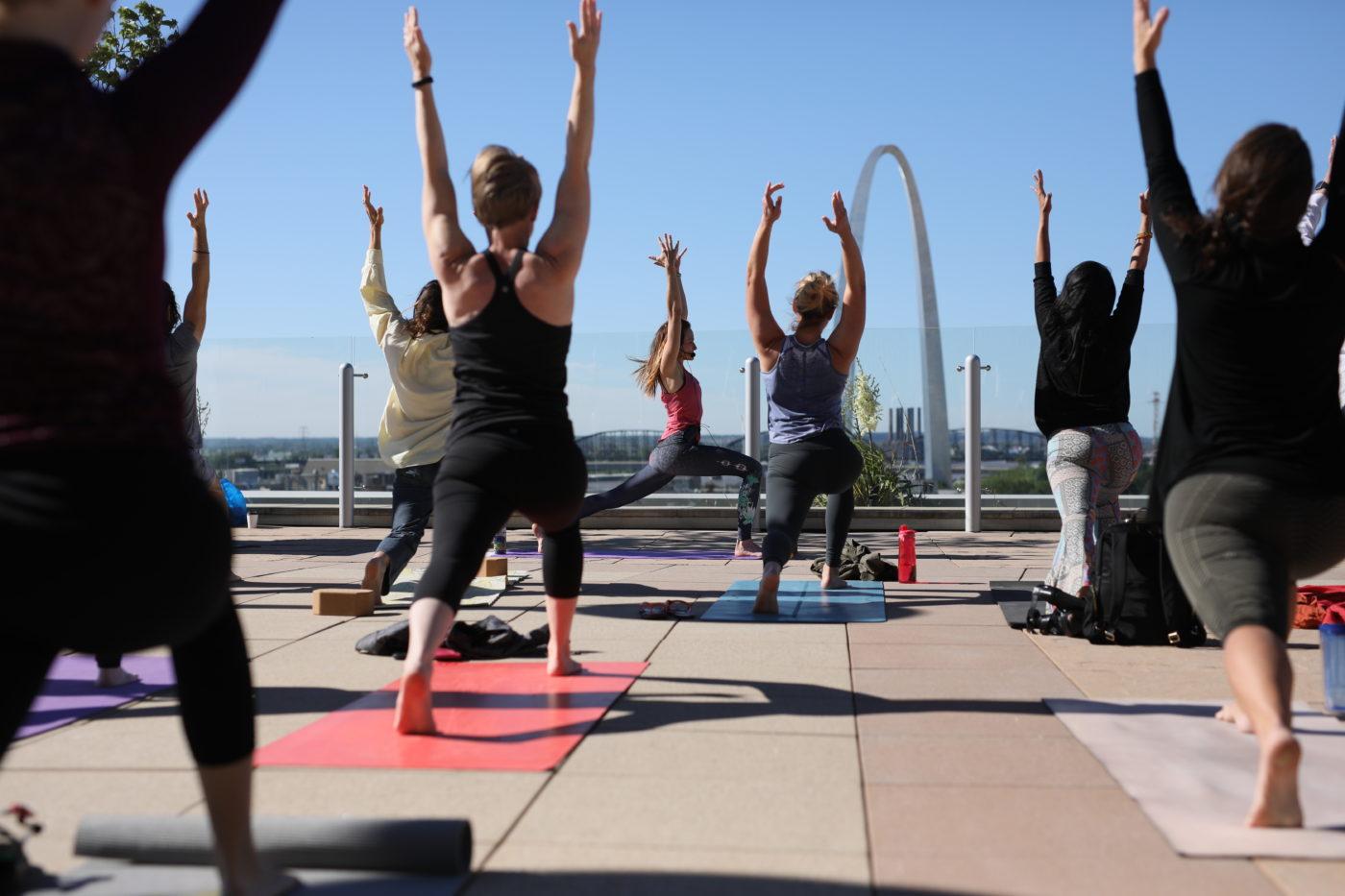 Four Seasons yoga teacher Debby Siegel offers yoga in St. Louis on weekends in Four Seasons' spa.