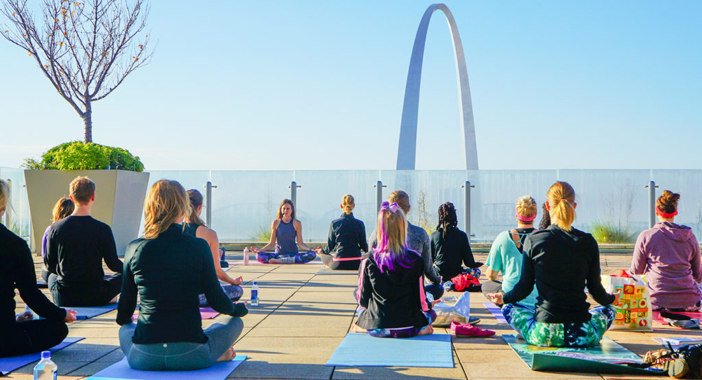 Yoga at Four Seasons St Louis in the Spa or on Sky Terrace weekends with Debby Siegel.