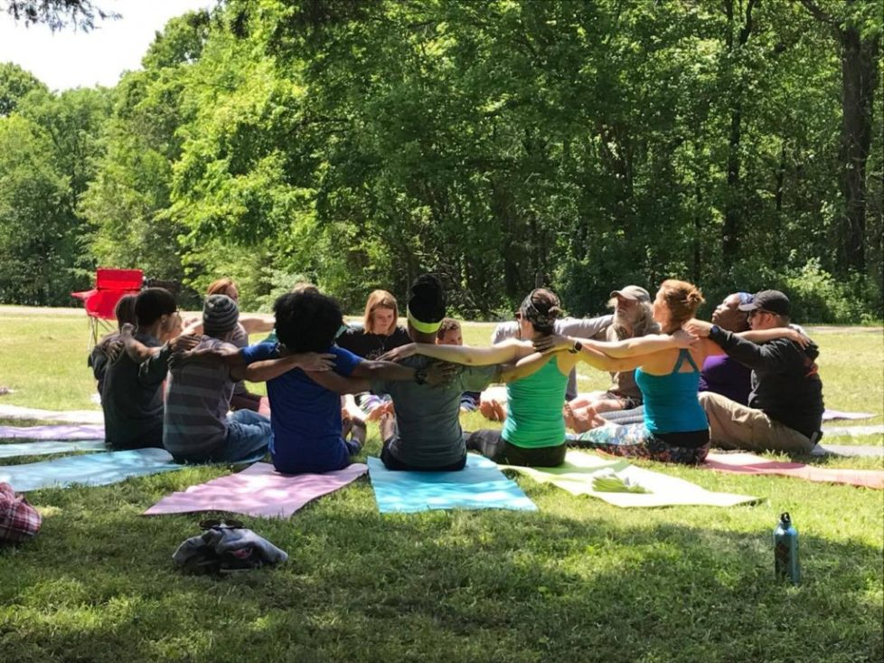 Acro Yoga class at Manifest Station Music and Yoga Festival in southern Illinois.