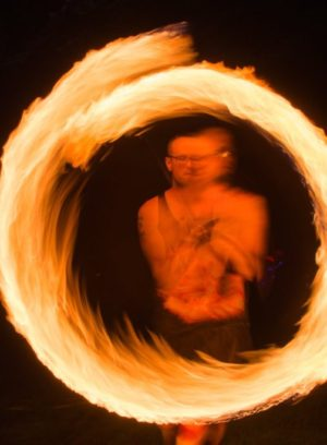 ReKinection fire spinner at Manifest Station Music and Yoga Festival in the midwest May 3-5.