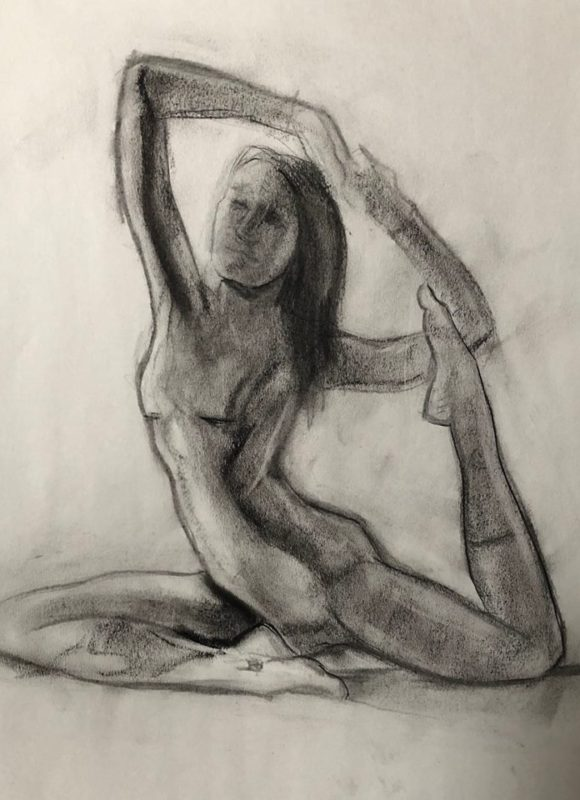 The Art of Asana - Artists charcoal drawing yogis at Southtown Yoga in St. Louis with Debby Siegel.