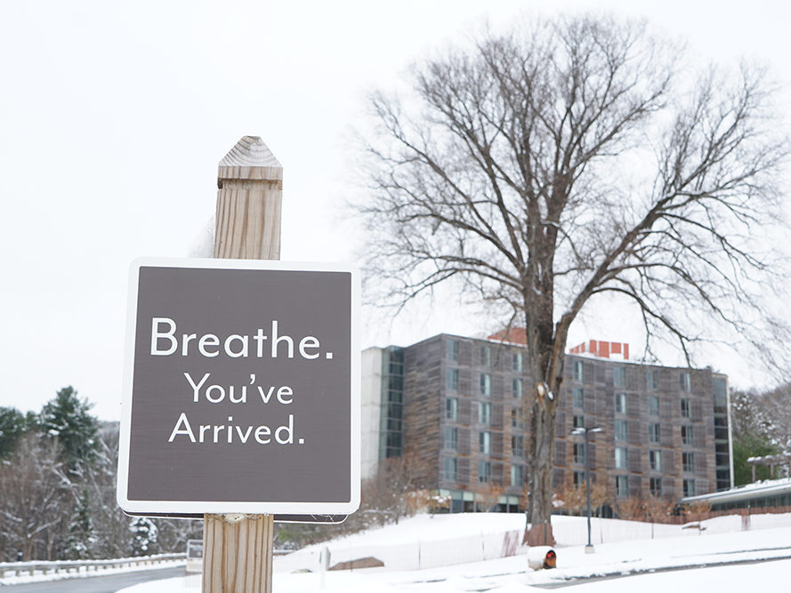 Breathe. You've arrive at Kripalu Center for Yoga & Health. The sustainable, cement walled Annex building in the background.