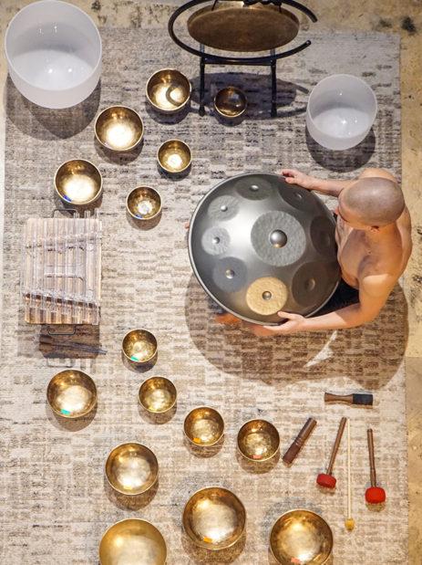 Crystal bowls, Tibetan singing bowls, crystal harp, handpan, sound healing yoga evangelist st louis Tim DeWitt