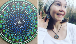 Mindful Yoga and Art Mandala Earrings and necklace