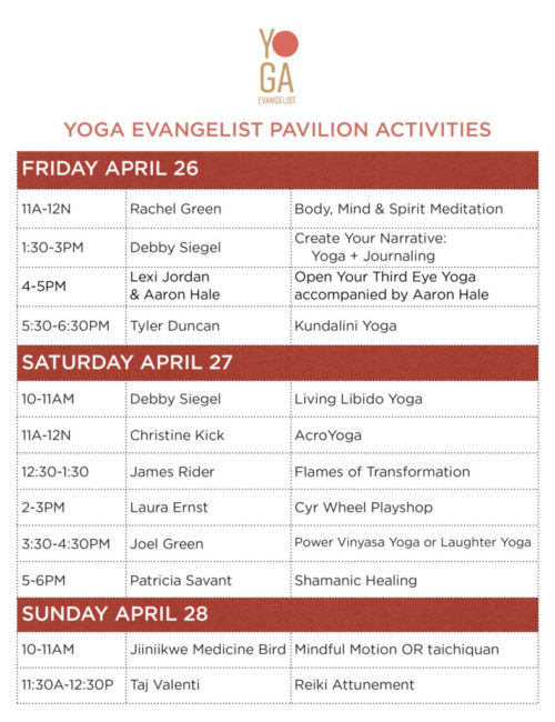 SpringUP yoga evangelist pavilion schedule