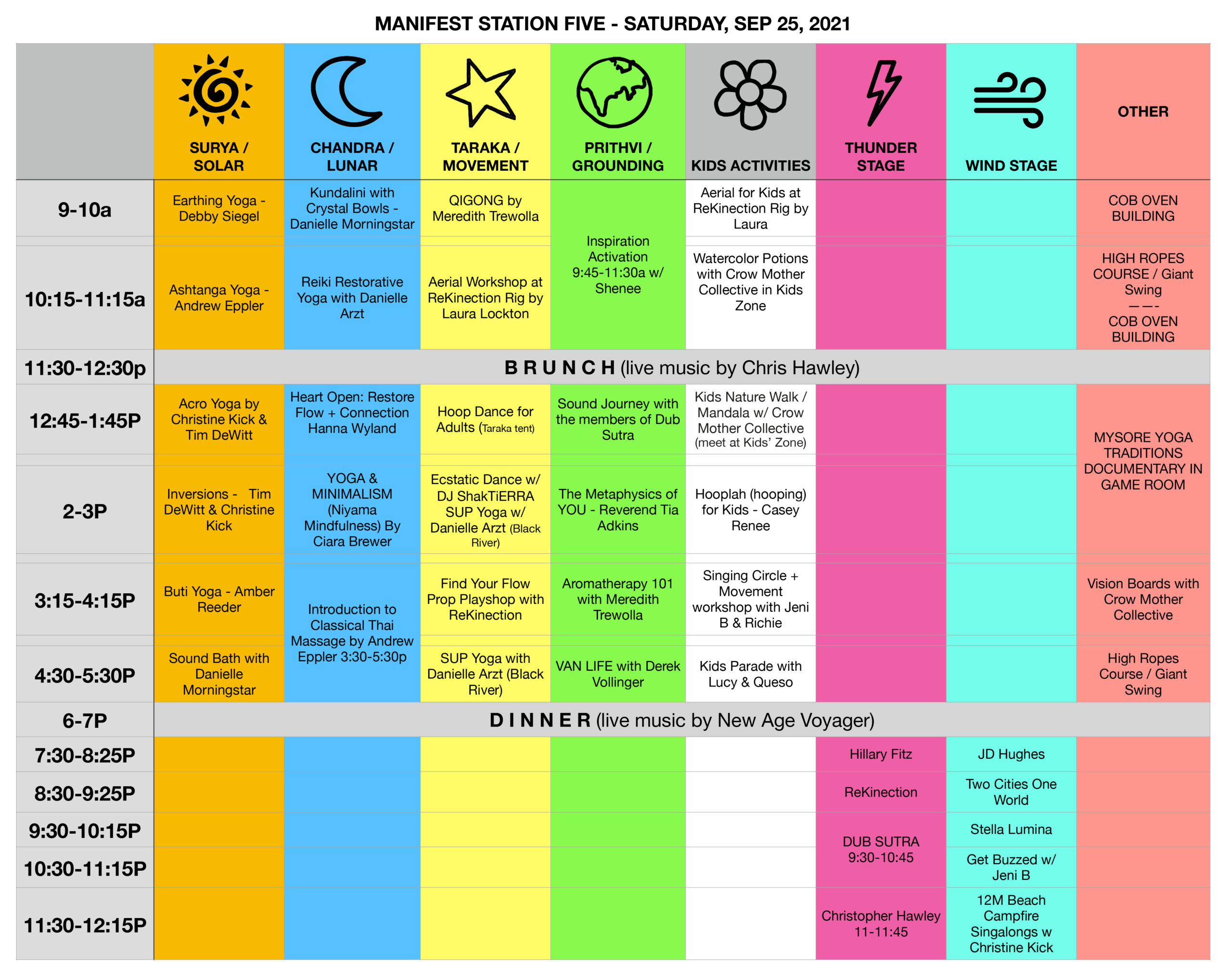 Manifest Station Music & Yoga Festival Schedule Sat Sep 25