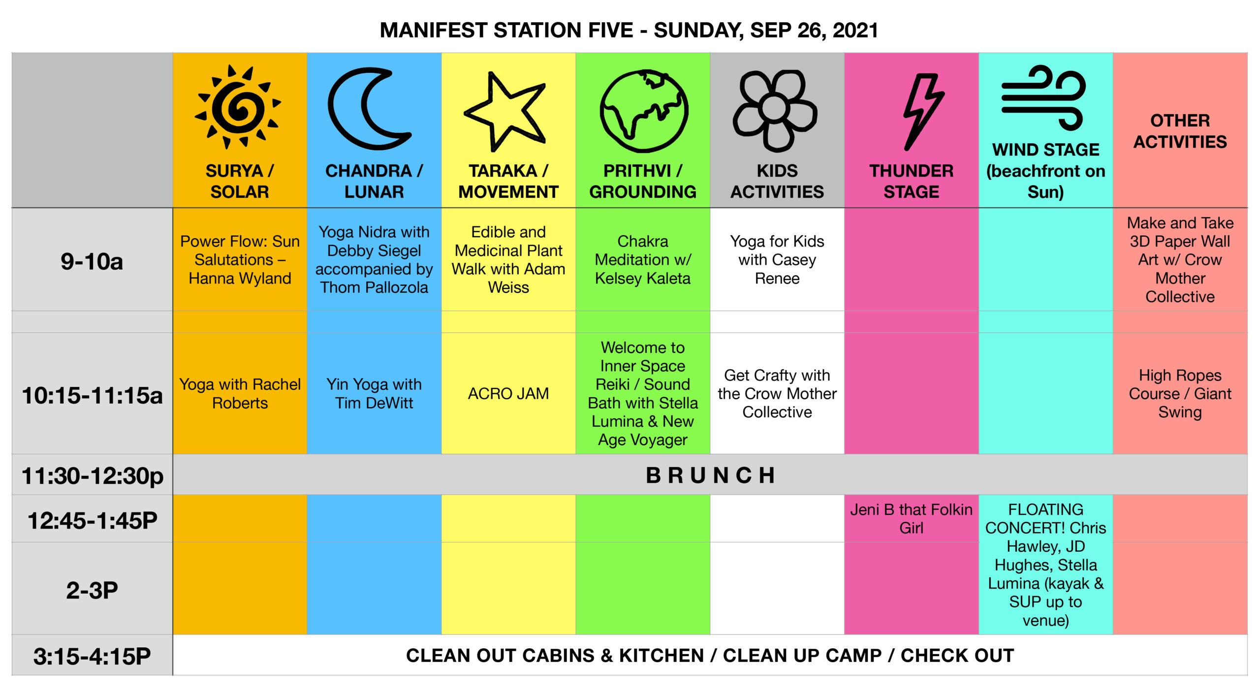 Manifest Station Music & Yoga Festival Schedule Sun Sep 26