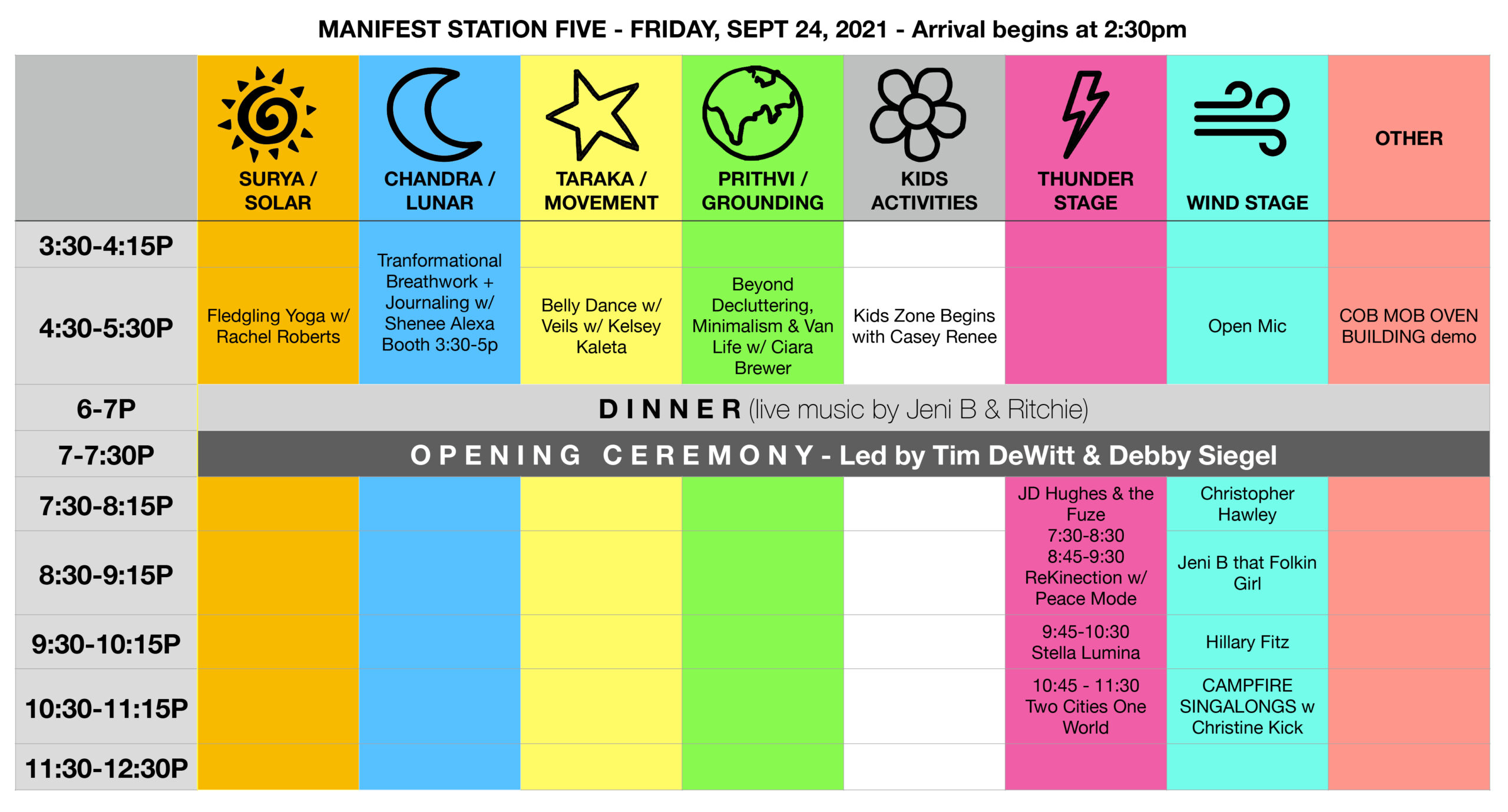 Manifest Station Music & Yoga Festival Schedule Friday, September 24, 2021