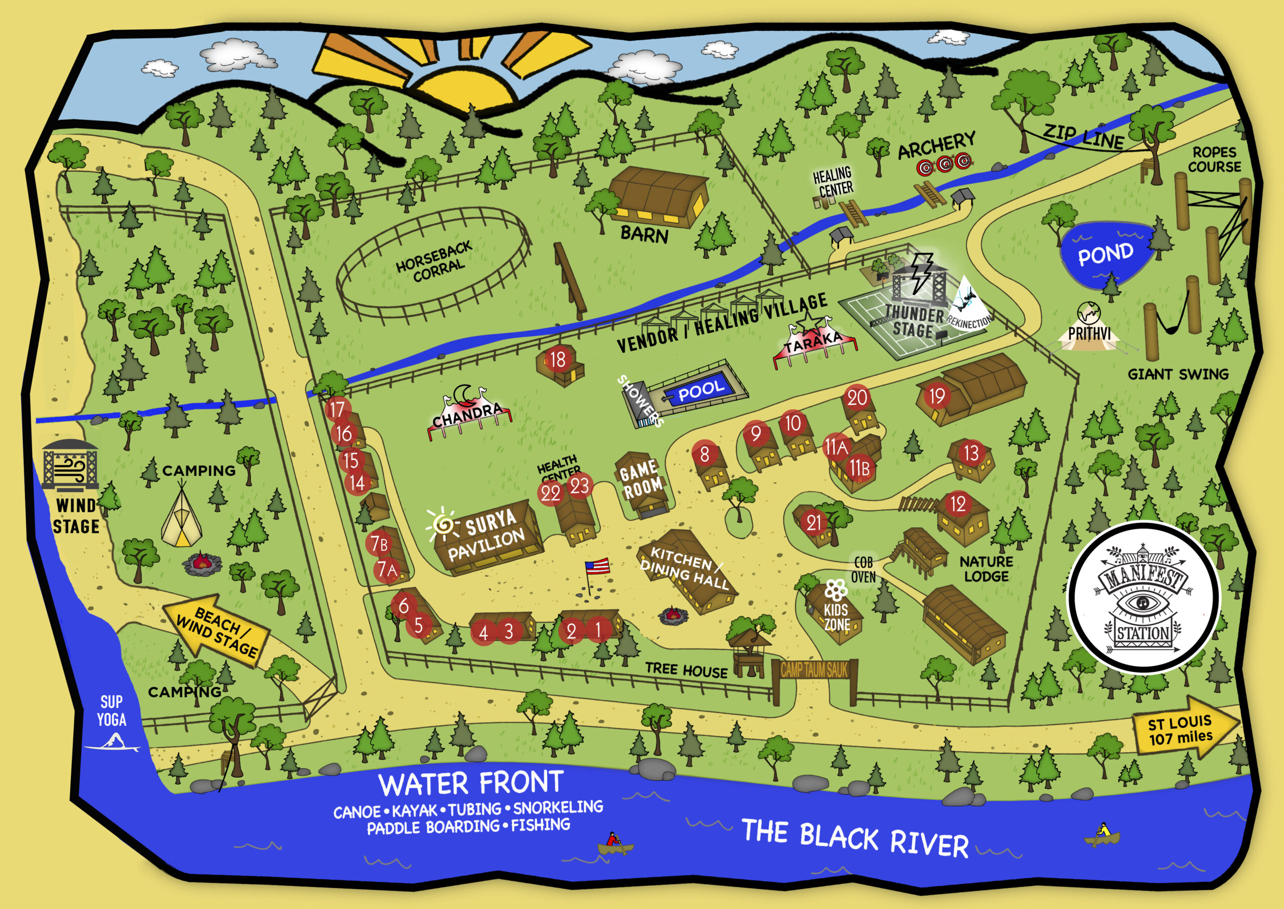 Map of Manifest Station Five at Camp Taum Sauk